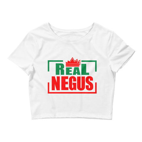 Real Negus (Red and Green text) Women's Crop Tee