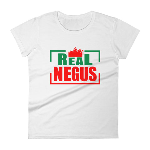 Real Negus (Red and Green text) Women's short sleeve t-shirt