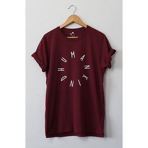 HumanKind Large Design T-shirt | Burgundy