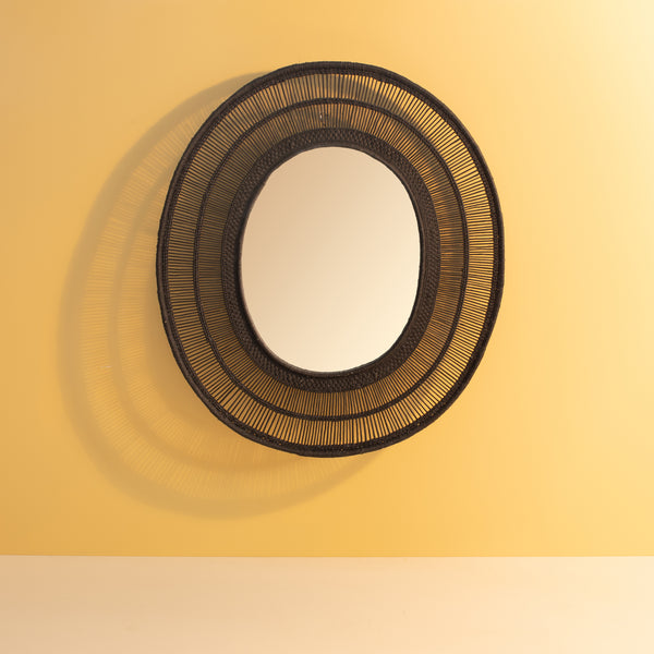 Malawi Oval Mirror Black