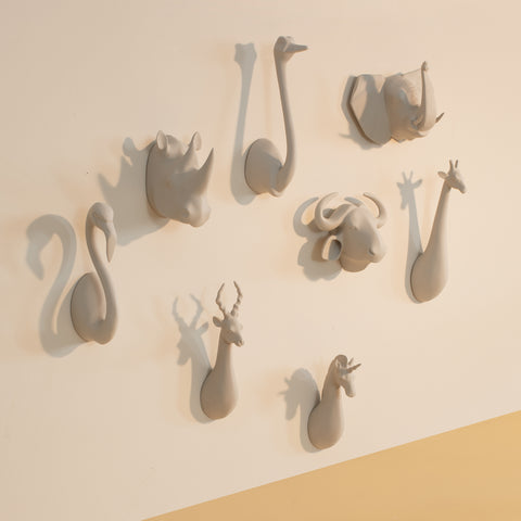 Misty White Animal Head Hooks
