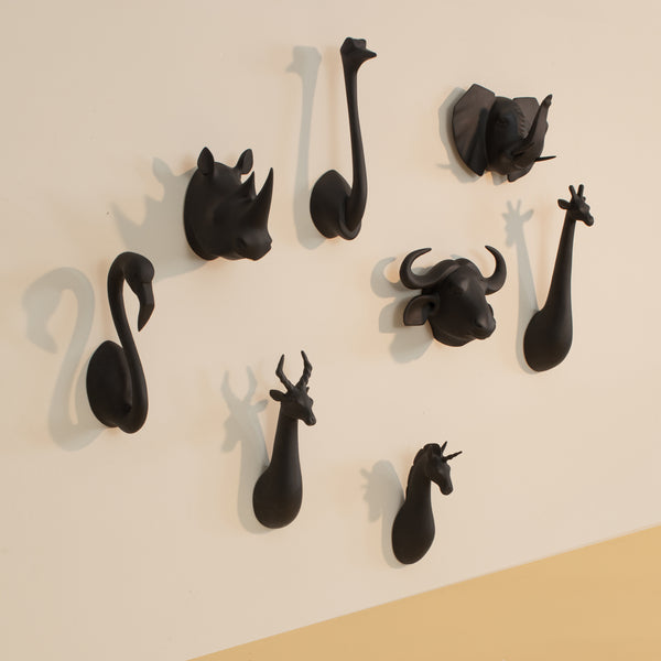 Black Big Animal Head Hooks