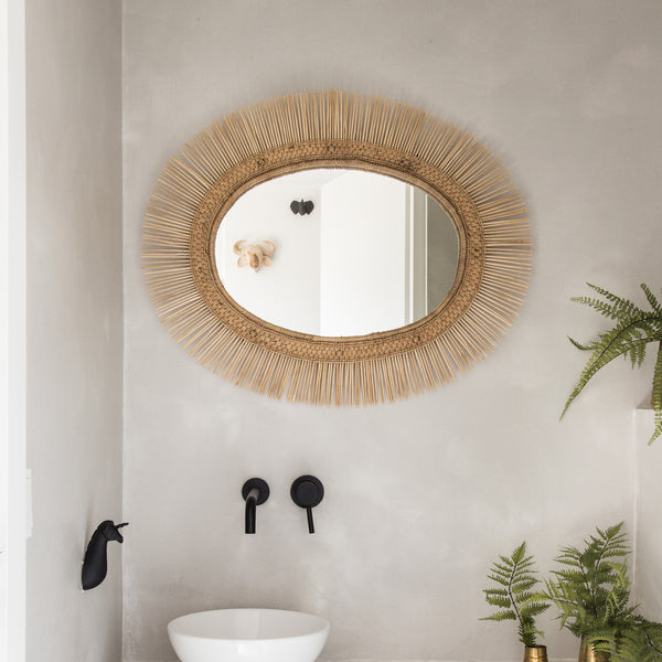 Malawi Sun Oval Mirror Natural