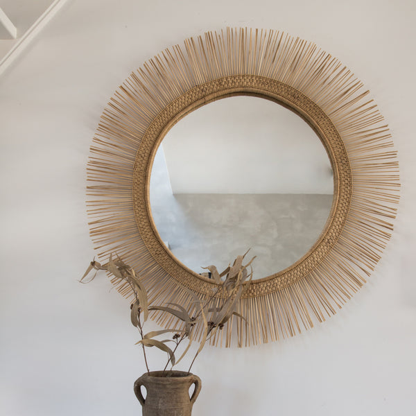 Malawi Sun Round Mirror Natural