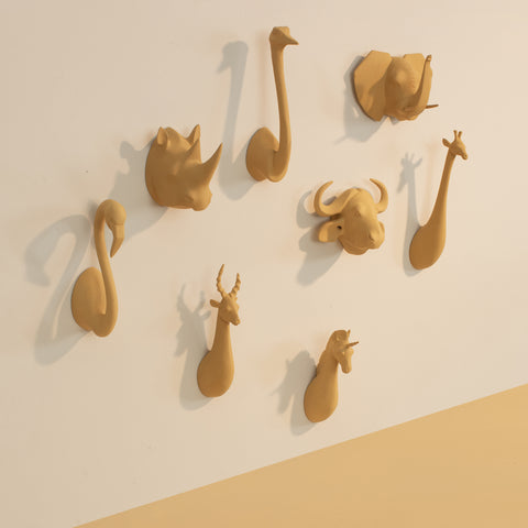 Mustard Animal Head Hooks