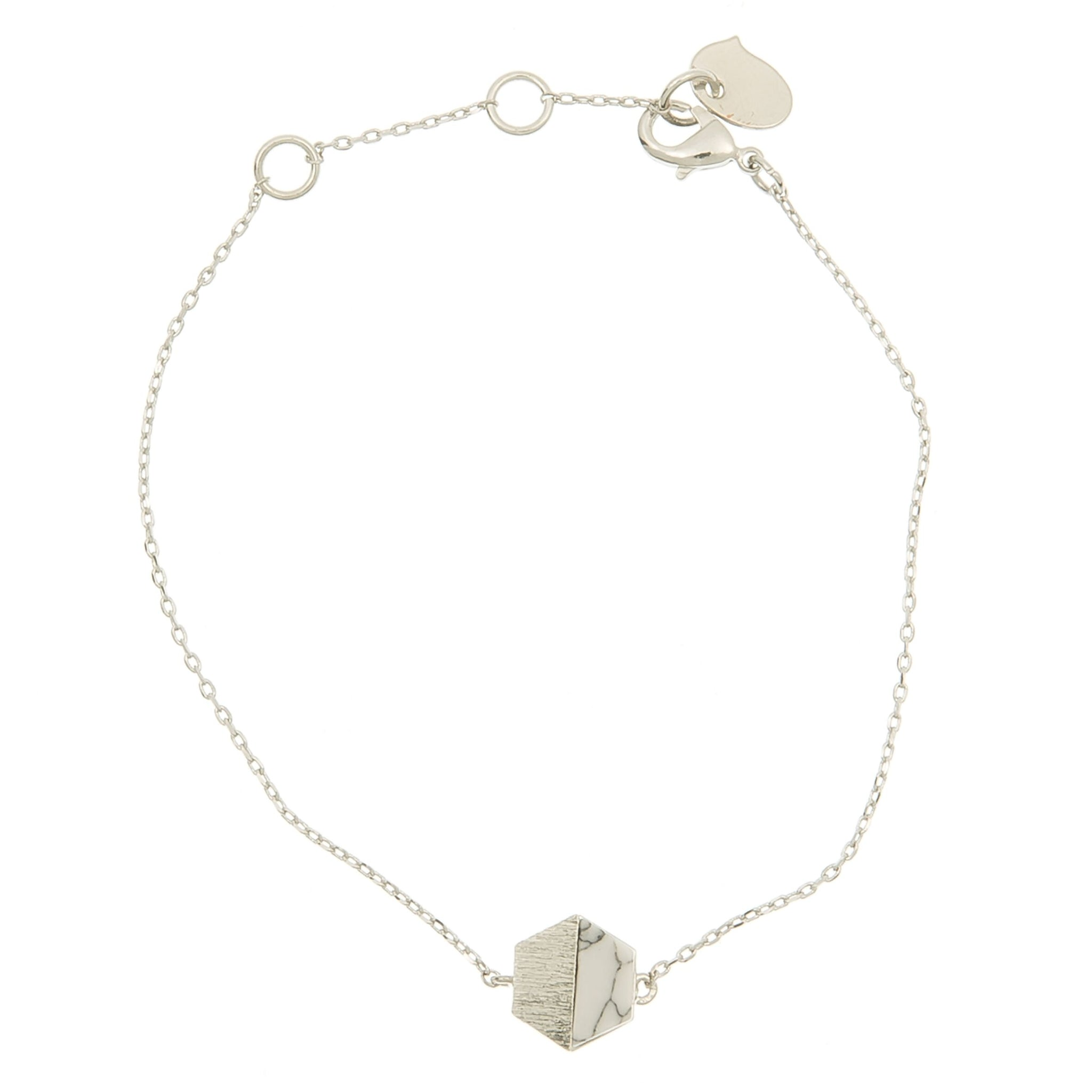 HEXAGON WITH STONE SETTING BRACELET IN SILVER