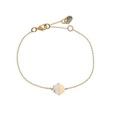 Hexagon with Stone Setting Bracelet in Gold