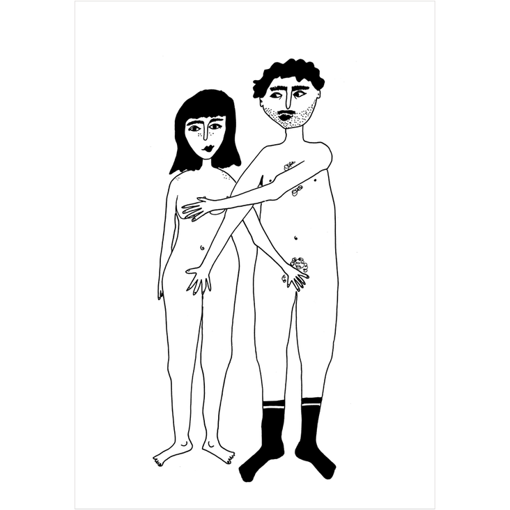 Manjši print Naked couple
