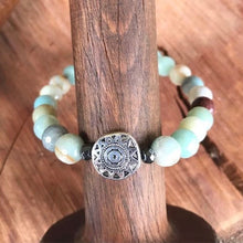 Faceted Amazonite Tribal Stackable Bracelet