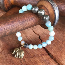Faceted Amazonite & Pyrite Elephant Bracelet
