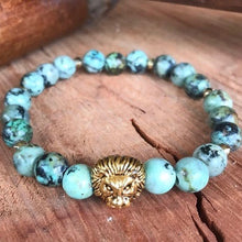 African Turquoise Lion Head Stack Bracelet
