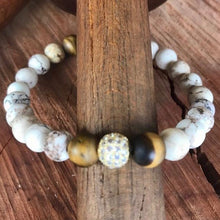 White Buffalo Turquoise & Tiger Eye Stackable Bracelet