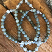 Matte Labradorite Brazilian Quartz Crystal Necklace