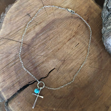 Kingman Turquoise Mixed Metals Cross Necklace