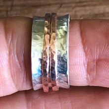 Hammered Sterling and Copper Spinner Ring