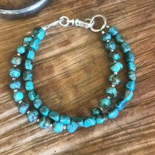 Double Strand Turquoise and Sterling Bracelet