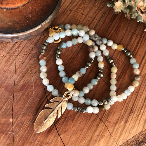 Amazonite and Pyrite Feather Necklace