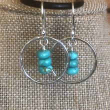 Kingman Turquoise Dangle Hoop Earrings