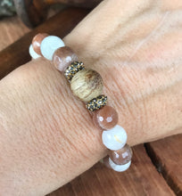 Moonstone & White Wood Stack Bracelet