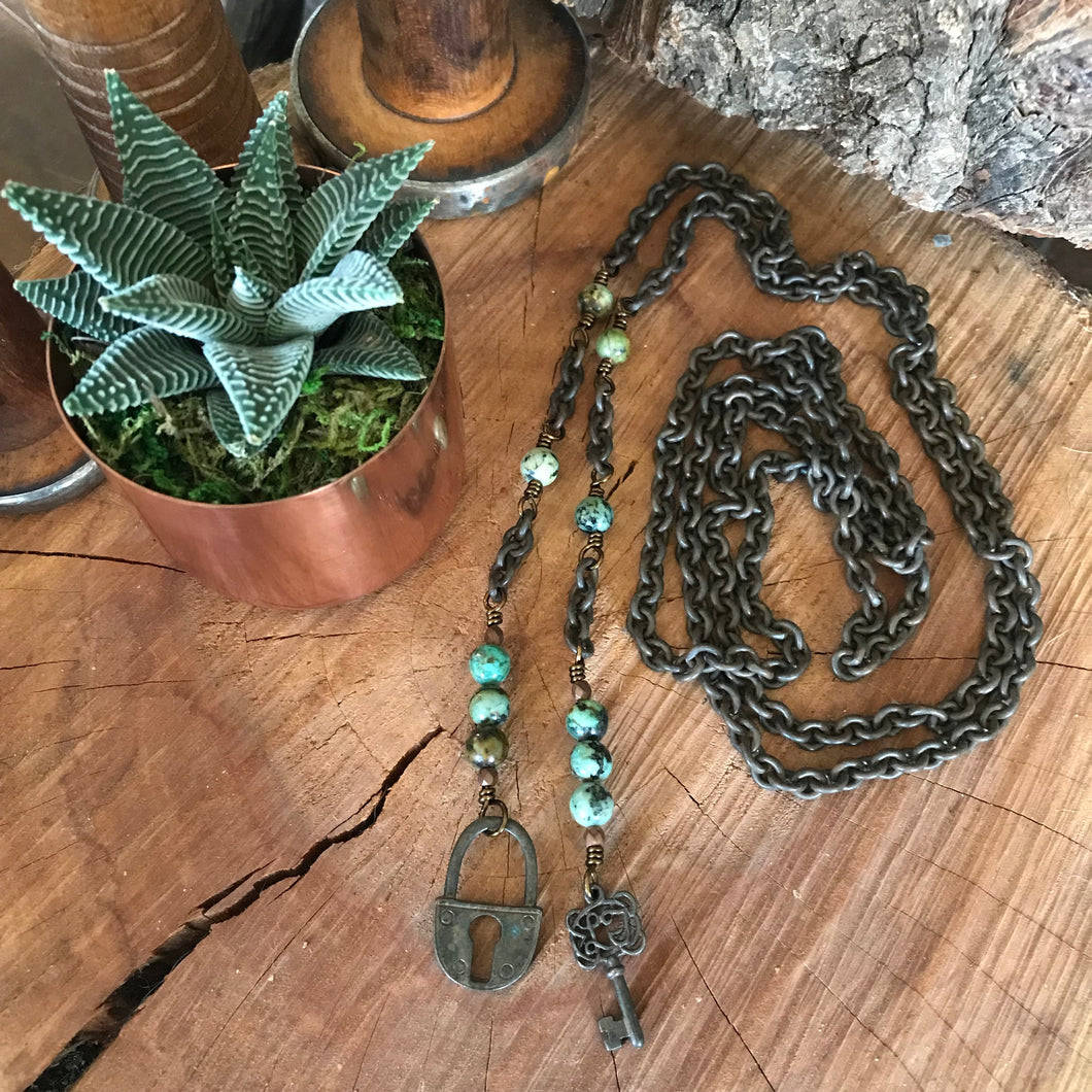African Turquoise Lock and Key Lariat