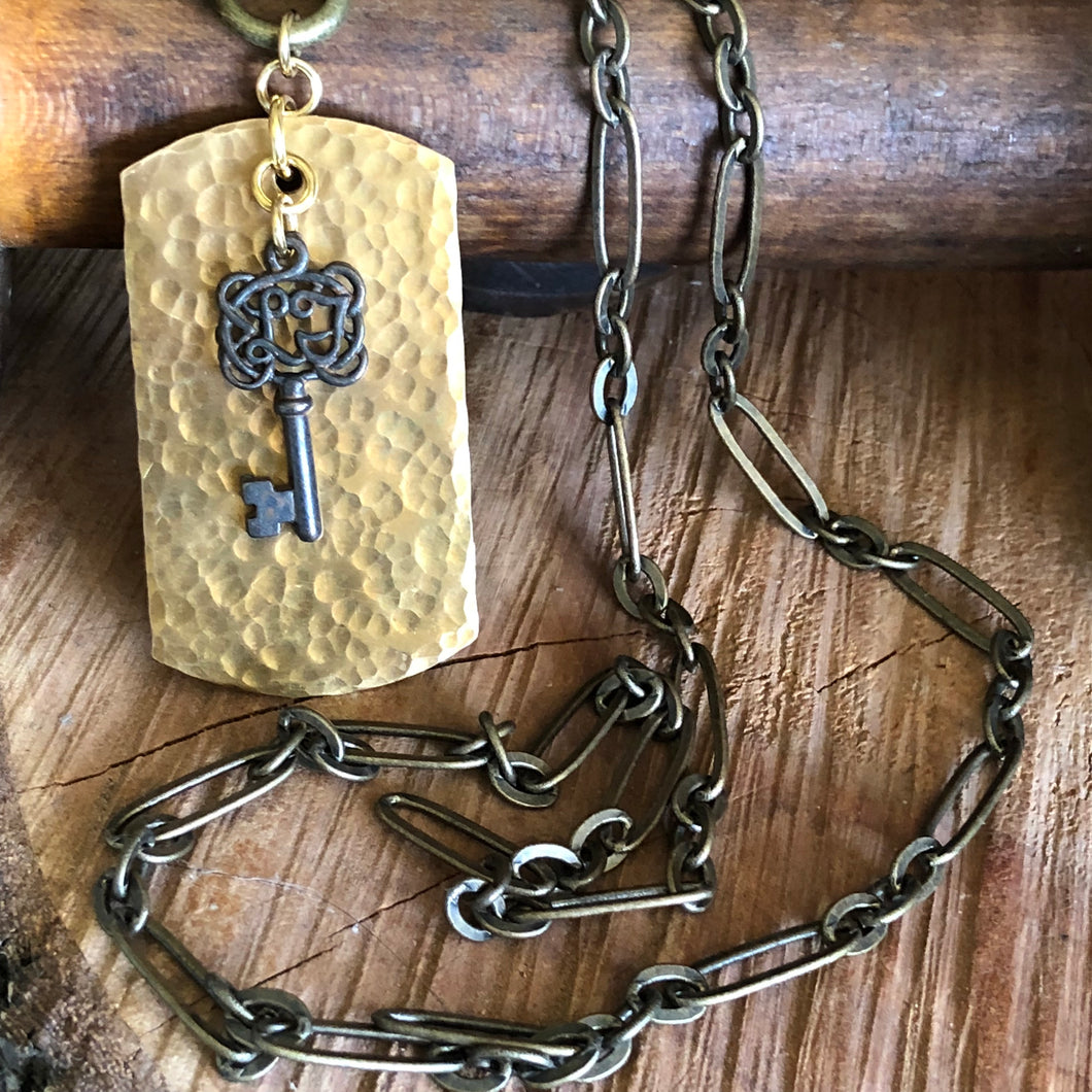 Hammered Dog Tag and Key Necklace