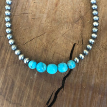 Kingman Turquoise Navajo Pearl Necklace