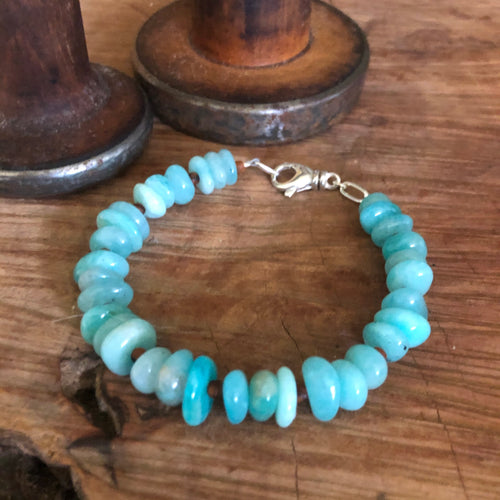 Peruvian Amazonite and Olive Wood Bracelet