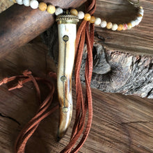 Fossil Coral and Leather Tusk Necklace