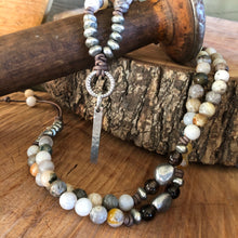 Bamboo Leaf Agate Pewter Bar Necklace
