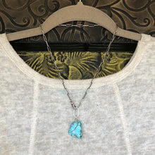 Kingman Turquoise Slab Paper Clip Chain Necklace