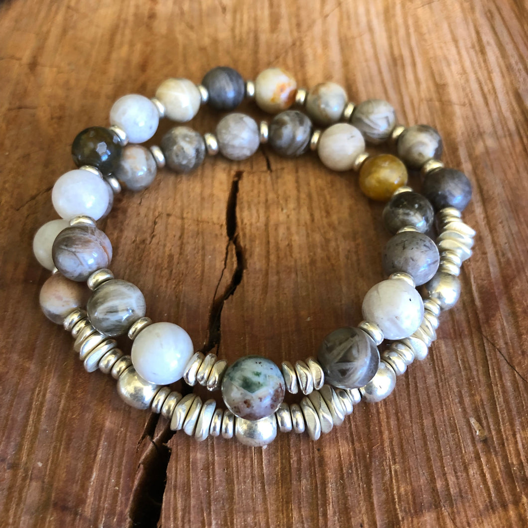 Bamboo Leaf Agate Double Wrap Bracelet