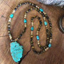 Tiger Eye and Bisbee Turquoise Necklace
