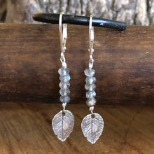 Stacked Labradorite Sterling Leaf Earrings