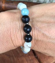 Faceted Amazonite & Black Onyx Stackable Bracelet