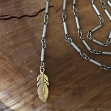 Mixed Metals Feather Necklace