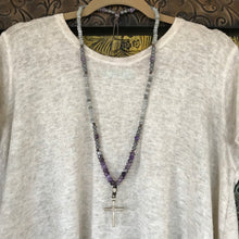 Amethyst and Labradorite Cross Necklace