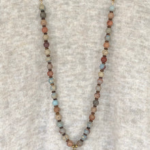African Opal Copper Bar Pendant Necklace