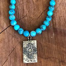 Kingman Turquoise Zia Symbol Necklace