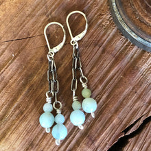 Oxidized Sterling and Amazonite Earrings
