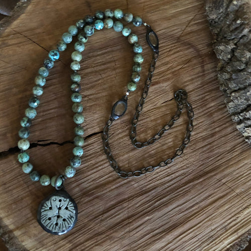African Turquoise Soldered Stone Pendant Necklace