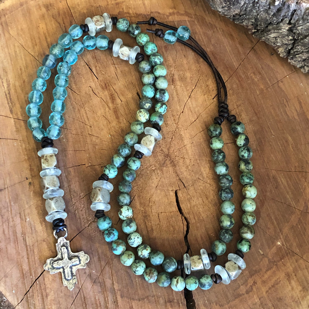 African Turquoise Sterling Cross Necklace