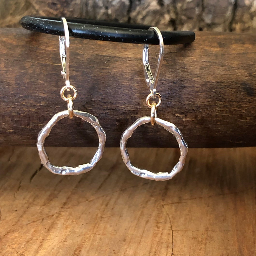 Hammered Sterling Mixed Metal Earrings