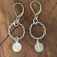 Sterling Twisted Circle Moonstone Earrings