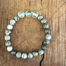 Silver Leaf Jasper and Java Glass Bracelet