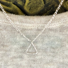 Sterling Silver Triangle Necklace With Figaro Chain