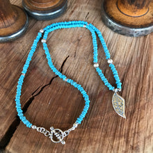 Sky Blue Java Glass Sterling Leaf Necklace