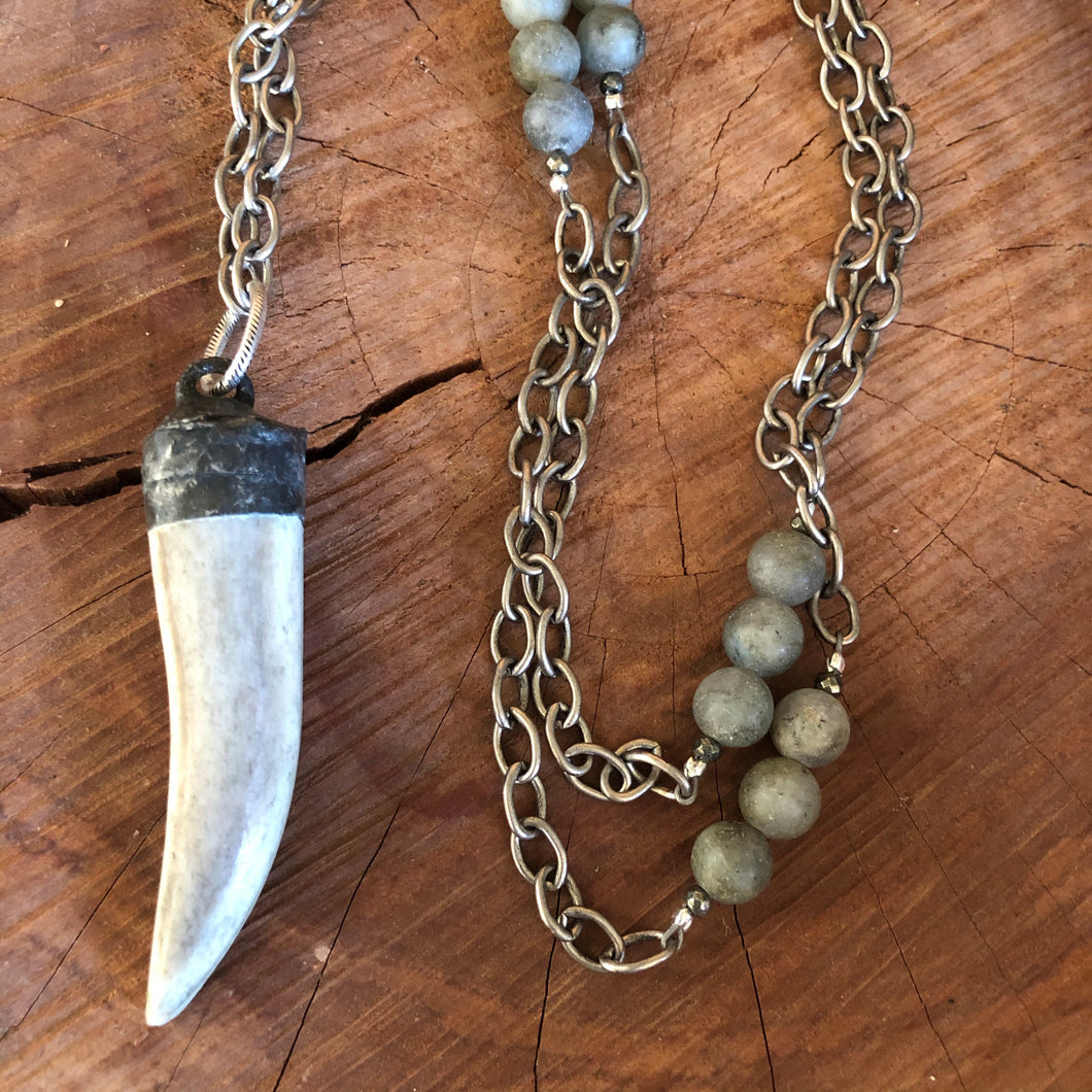 Labradorite Soldered Horn Necklace
