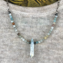 Aura Quartz and Amazonite Sterling Necklace