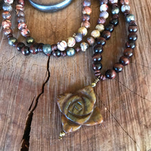 Carved Jade , Tiger Eye and Fire Agate Necklace
