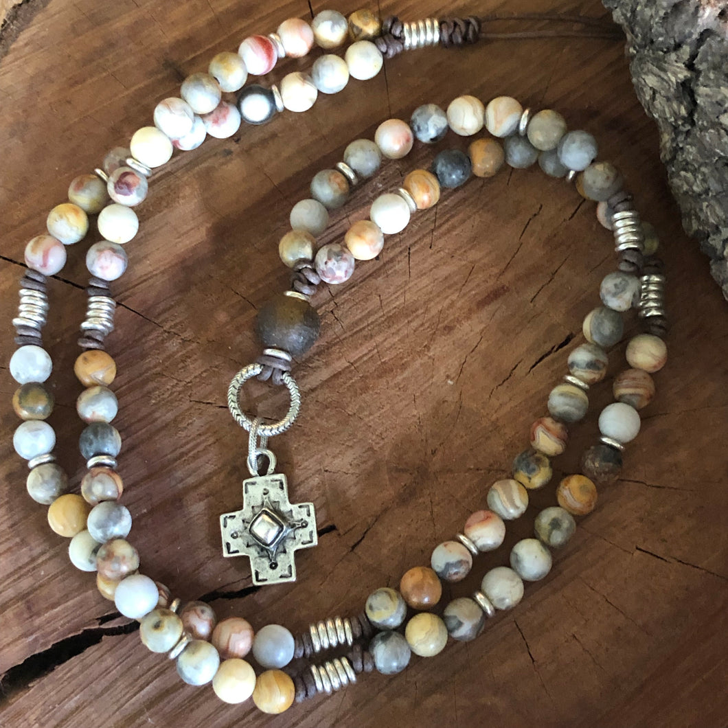 Crazy Lace Agate Southwest Cross Necklace